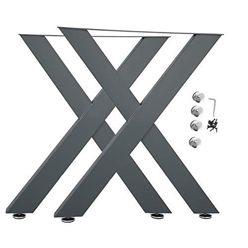 Patas de Mesa perfiles de acero, 2 piezas de patas de mesa de escritorio de acero industrial fuerte engrosadas en forma de X, única pata de marco de perfil cerrado para bricolaje