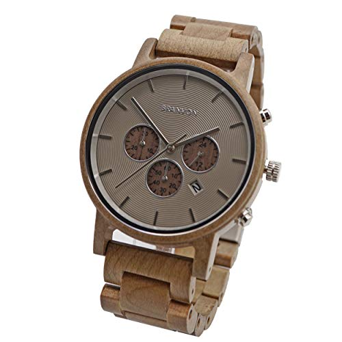 Branvon® Herren Holzuhr Maries - Herrenuhr Chronograph Braun mit Datumsanzeige - Saphirglas - Armbanduhr für Herren aus Apfelholz - inkl. Gliederarmband und Lederarmband
