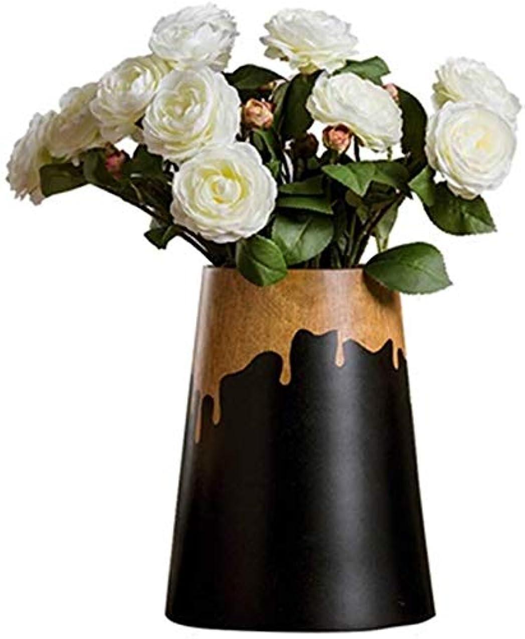 以下慣れている岸花瓶 小さなレトロセラミック花瓶リビングルームキッチンテーブルホームオフィスブラックゴールド植物フラワーアレンジメント水文化大25 * 14 * 10 * 14センチメートル インテリア フラワーベース (Size : 25*14*10*14cm)