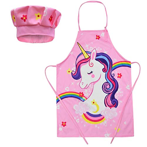 Kids Cooking Aprons kids Chef Hat and Apron baking Set Children Aprons for Girls or Boys (pink)