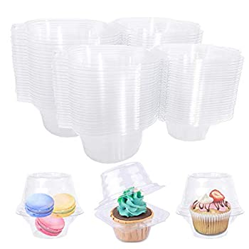 50 Pcs Clear Individual Plastic Cupcake Containers,Single Compartment Cupcake Carrier Holder Box,Stackable Single Cupcake Boxes for Birthday Party,Bake,Wedding,BPA Free