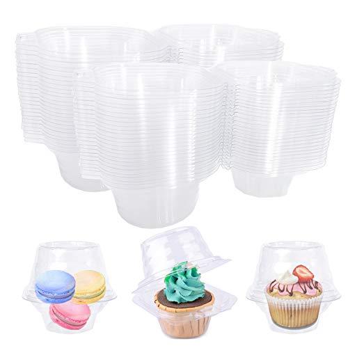 50 contenedores de plástico transparente individuales para cupcakes, caja de soporte para magdalenas, apilables para fiestas de cumpleaños, hornear, boda, sin BPA