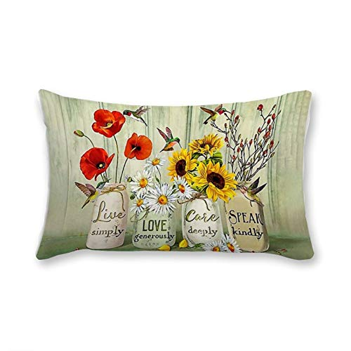 VinMea Fundas de almohada decorativas lumbar, colibrí, Live Love Care Speak, fundas de almohada de 50 x 60 cm para sofá, silla, decoración de asiento