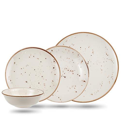 Geschirrset 24-teilig aus Porzellan für 6 Personen | Tiefe Suppenteller, Flache Essteller, Dessertteller und Schüsseln | Hochwertiges modernes buntes Vintage Tafelservice Kombiservice | Creme braun