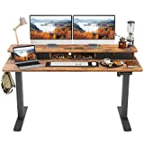 FEZIBO Height Adjustable Electric Standing Desk with Double Drawer, 55 x 24 Inch Stand Up Table with Storage Shelf, Sit Stand Desk with Splice Board, Black Frame/Rustic Brown Top