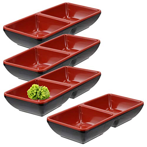 Happy Sales HSMSD-DBRB4, Melamine Dual Sauce Bowls Dual Dipping Bowls, Dual Sauce Dishes, Set of 4 pc, Red Black