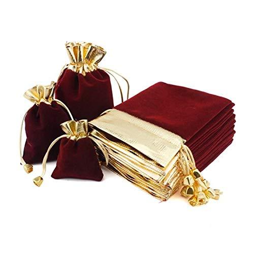 MURUI 5pcs / Lote Paquete Bolsas 7x9 9x12 12x16cm Vino Red Organza Bolsas de Regalo con cordón de la joyería de Boda Bolsas de Embalaje YC0222 (Color : 7x9cm B)