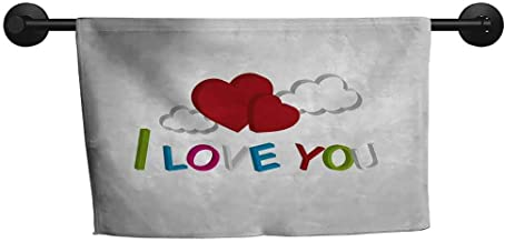ZSUO Bath Towels for Sale Hand Towel,I Love You More,Valentines Quote with Chocolate Cream Filled Cookie Artistic Font Stars,Multicolor