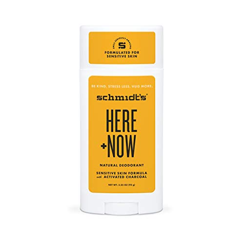 Schmidt's Aluminum Free Natural Deodorant for Women and Men, Here + Now for Sensitive Skin with 24 Hour Odor Protection, Certified Cruelty Free, Vegan Deodorant, 3.25 oz