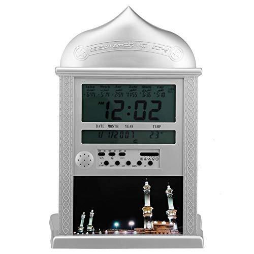 Tangxi Azan-Uhr, LCD-Multifunktions-Gebetsuhr, muslimisch-islamisches Gebet, Azan-Athan-Wecker mit Stift (Silber)