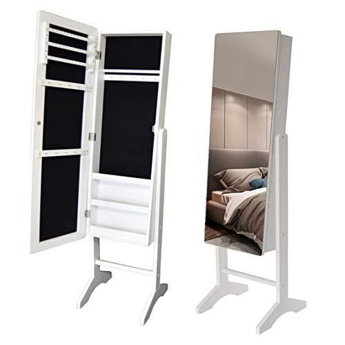 Style home Schmuckschrank Schmuckregal und Standspiegel Winkel einstellbar, Schmuckkasten Holz Weiß 153 x 35x 35,5cm