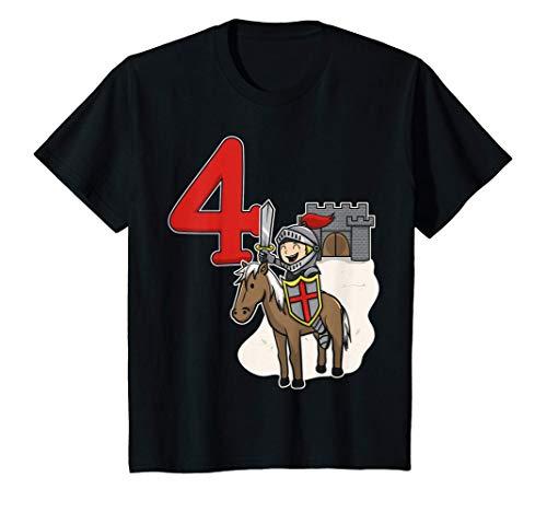 Niños 4to cumpleaños del caballero - Castillo y número 4 Camiseta