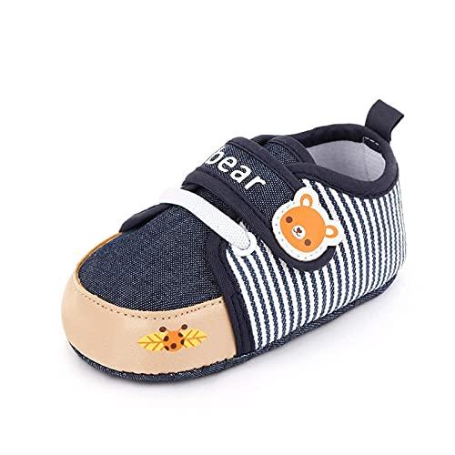 FURONGWANG6777BB Newborn Infantil Imprimir Animal Patrón Cuna Zapatos Baby Boys Girls Sneaker Sneaker First Walkers 0-18 Months (Color : Navy, Shoe Size : 12-18 Months)