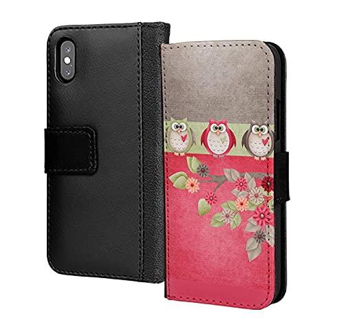 3 lindos búhos en un árbol pájaros pu cuero cartera en tarjeta teléfono caso cubierta para Huawei P40