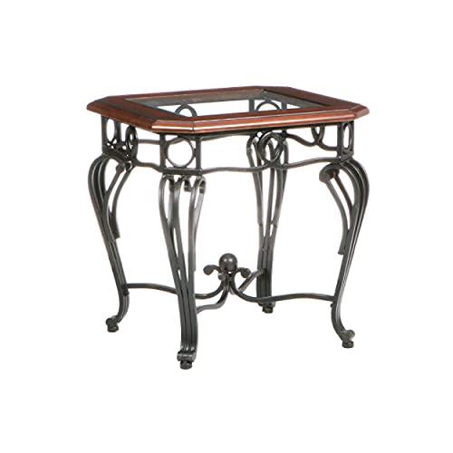Southern Enterprises Prentice Glass Top End, Side Table, Dark Cherry/Black