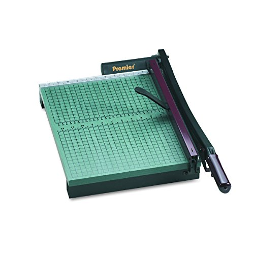 """Premier 715 StackCut Heavy-Duty Trimmer, Green, Table Size 12-1/2"""" x 15"""", Permanent 1/2"""" Grid and Dual English and Metric Rulers"""