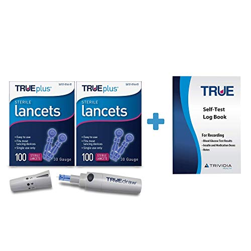 TRUEdraw® Lancing Device + 2 x 100ct 30g TRUEplus® Lancets + TRUEplus® Log Book