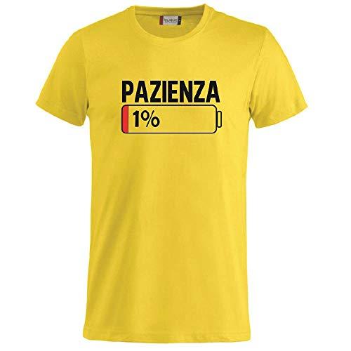 BrolloGroup T-Shirt Uomo Pazienza 1% Magliette Simpatiche PS 27431-A001 (Giallo, XL)