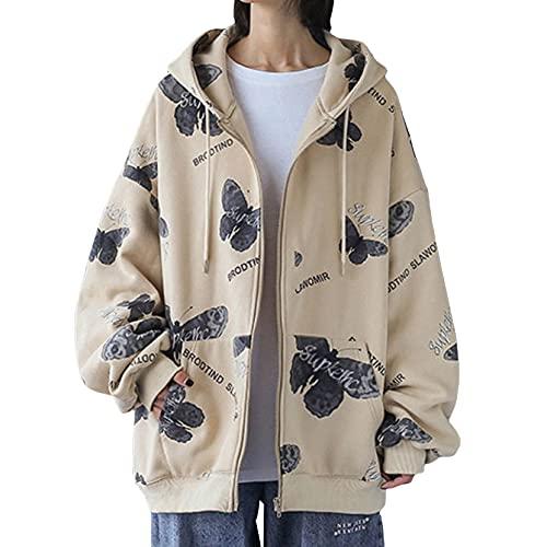 Y2K - Sudadera con capucha y cremallera para mujer, diseño de mariposa, estilo casual, de gran tamaño, manga larga, E-Girls, blanco, M