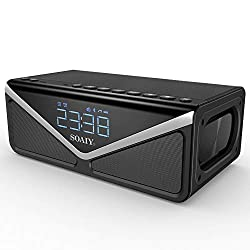 Portable Wireless 25W Bluetooth Speakers with Lights & Enhanced Deep Bass, 15W Subwoofer, Bluetooth 4.2,10h Play Time, Built-in mic, FM Radio and Dual Alarm Clock, for iPhone, Samsung (Black)