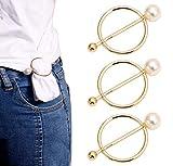 5 piezas aleación de zinc perlas redondas bufanda anillo bufandas hebillas mujeres niñas seda bufanda broche clips ropa anillo abrigo titular moda accesorios decorativos para pañuelo camiseta (25 mm)
