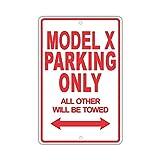 YASMINE HANCOCK Tesla Model X Parking Only Metall Plaque