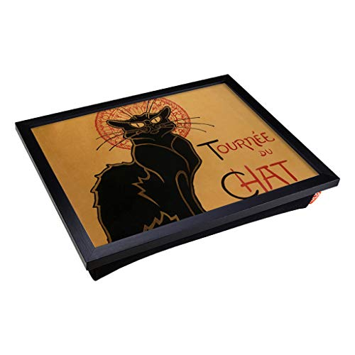 Big Box Art Lap Tray for Eating with Bean Bag Cushion - Theophile Steinlen Chat Noir Cat | TV Dinner, Laptop, Serving Tray