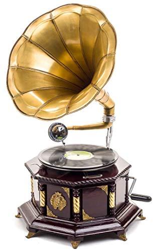Grammofono con Piatto in ceralacca Decorato in Stile Antico 70 cm