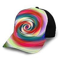 カラフルな楕円フラクタル スパイラル キャップ 帽子キャップ 帽子 日よけ男女兼用 速乾 軽薄 帽子 通気性 調整可能 野球帽 釣り り サイクリング スポーツアウトドア ゴルフ 旅行などに日よけ スポーツ帽子