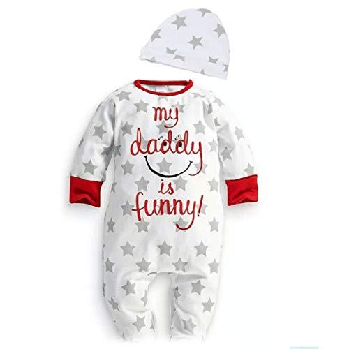 Puseky 2PCs vêtements de bébé Mon Papa est drôle Star Smile Print Romper + Hat Set Outfits (Color : White, Size : 12M-18M)