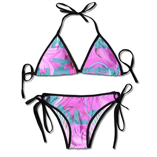 Kanmenenjie Halsey Bikini Women's Sexy Halter Top Bikini Set Casual Bathing Suit Black