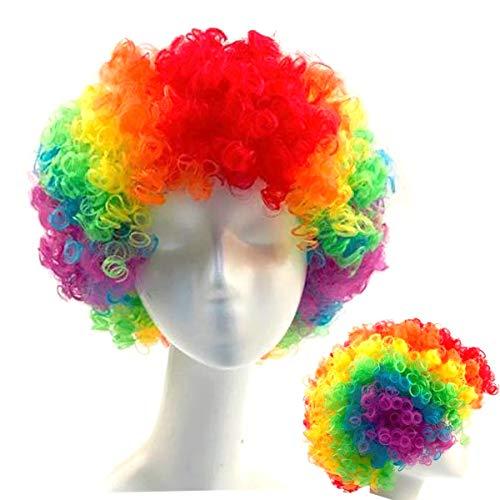 Clownpruik, DANCEPANDAS Clownkrullen Regenboogkledingaccessoires voor Halloween kostuumbenodigdheden Rode neus Dagfeest…
