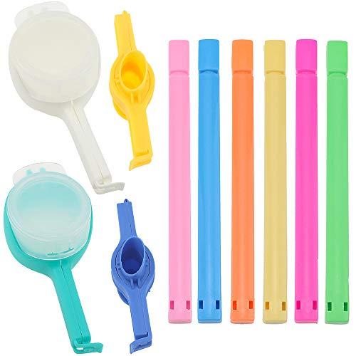 10 Stück Beutelverschlussclips 3 Arten Verschlussclips für Beutel Inklusive 6 Langer Clips 4 Klammern mit großen und klein Öffnungen für Lebensmittel und Snacks Lagerung aus PP und ABS BPA-frei