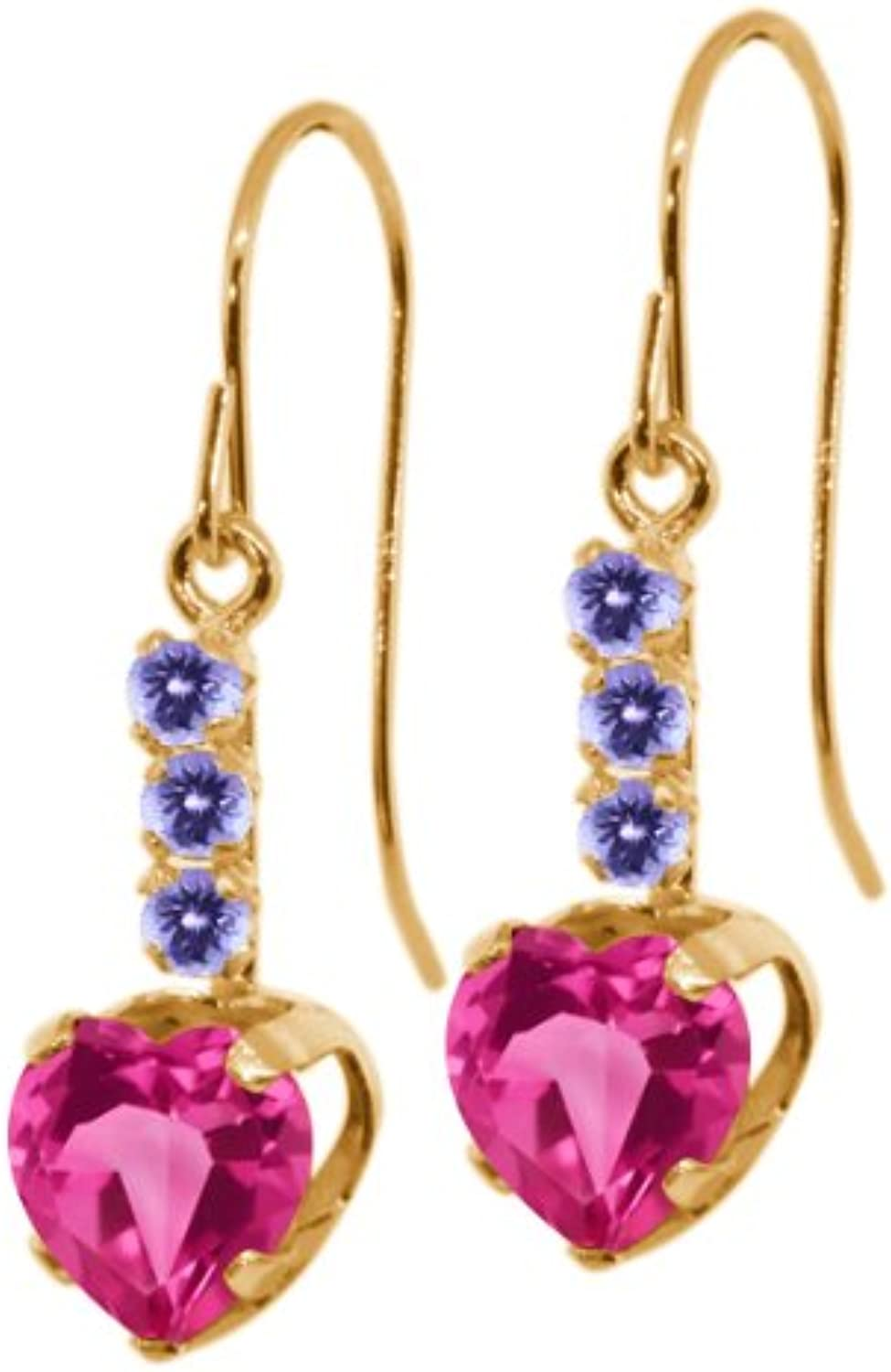 2.38 Ct Pink Created Sapphire bluee Tanzanite 14K Yellow gold Earrings