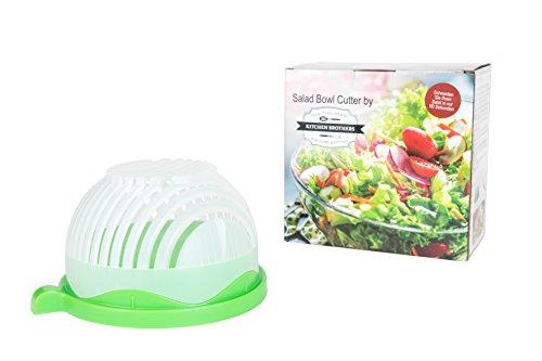 Kitchen Brothers Salatschneider, Salat Schneider, Salat Bowl Cutter, Salat Brettchen, Allesschneider, 100% BPA frei