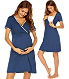 Ekouaer Women's Maternity Nightdress Short Sleeve Labor & Delivery Maternity Gown (Royal Blue M)