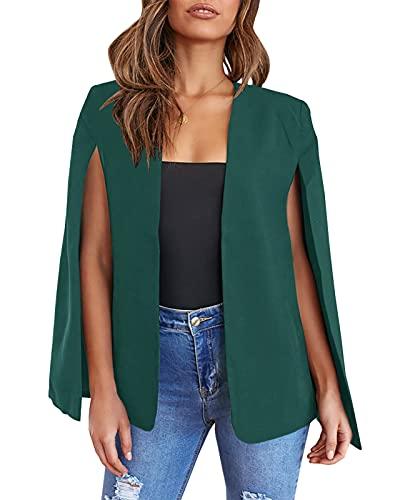 GAMISOTE Womens Cape Blazer Split Sleeve Open Front Casual Jacket Coat Workwear Green