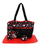 Cudlie Disney Minnie Mouse Baby Girls Multipiece Diaper Tote Bag in (Includes Changing Pad, Insulated Bottle Holder, Pacifier Case & Four Extra Storage Compartments), Stars Hearts & Bows, Large