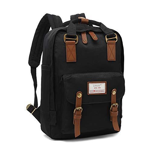 Rucksack Damen groß modern Schulrucksack Mädchen Teenager Tagesrucksack Verschiedene Tragevarianten Rucksack für Uni viele Fächer mit Laptop-Fach Backpack wasserdicht (Schwarz)