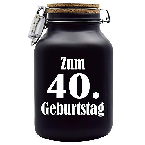 Salvadanaio per 40° compleanno, idea regalo, colore: nero, XXL