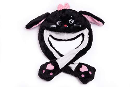 By Salti LED-Wackelohr Tiermütze Katze schwarz aus Plüsch für Kinder und Erwachsene