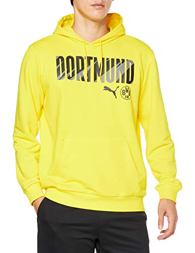 PUMA BVB Ftblcore Wording Hoody Sudadera, Hombre, Cyber Yellow Black, L