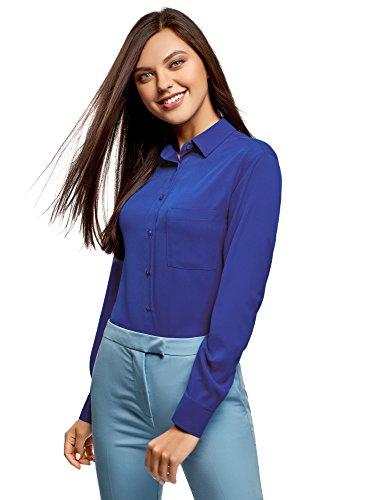 oodji Ultra Mujer Blusa Recta con Bolsillo en el Pecho, Azul, ES 38 / S