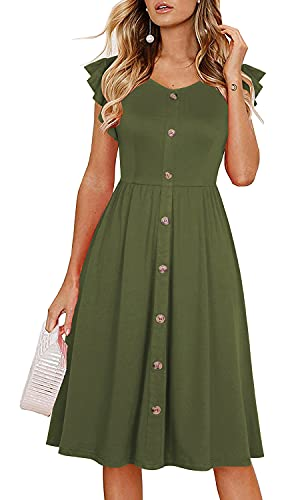 Lamilus Button Dresses for Women,Women's Summer Casual Ruffle Sleeve V-Neck Button Down A-Line Swing Dress (XL,L026-Army Green)