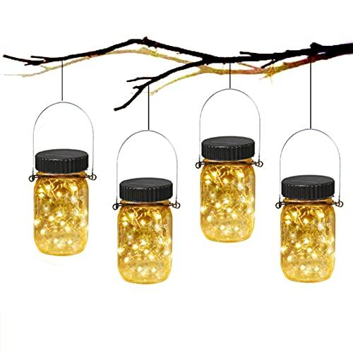 Luz solar colgante al aire libre 4 paquetes, luz 20LED del jardín de la botella de cristal conveniente para la luz caliente de la decoración del árbol