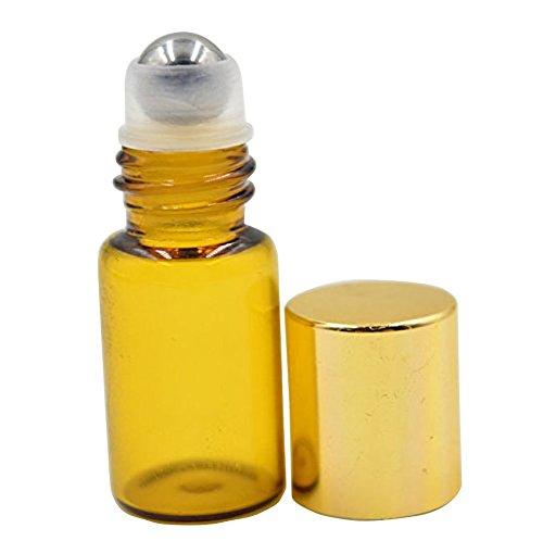 Botellas de rodillo de cristal ámbar recargables de 3 ml con bolas de metal y tapas de plástico doradas, paquete de 6 unidades