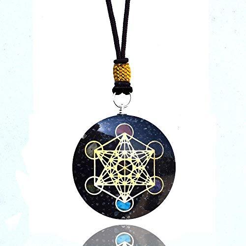 Real Crystal Black Tourmaline Orgonite Metatron Cube Pendant With...