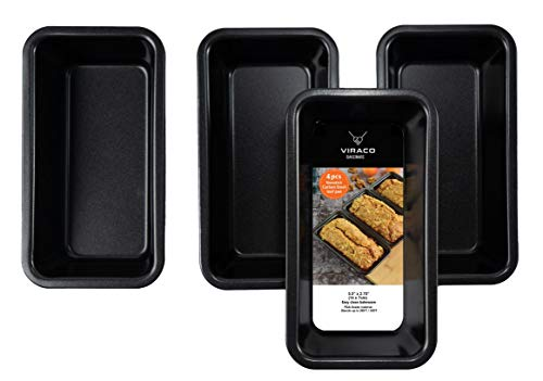 Mini Loaf And Bread Pan - 4 Pieces Set Black 5.5 Inches By 2.75 Inches Bake Ware Carbon Nonstick Steel Loaf Pan For Baking Bread Cakes Pie