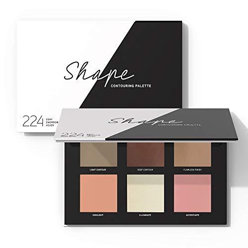 224 Cosmetics Paleta de contouring para el rostro - natural, vegano , no testada en animals - feel good fórmula , sin parabeno y silicona - Shape