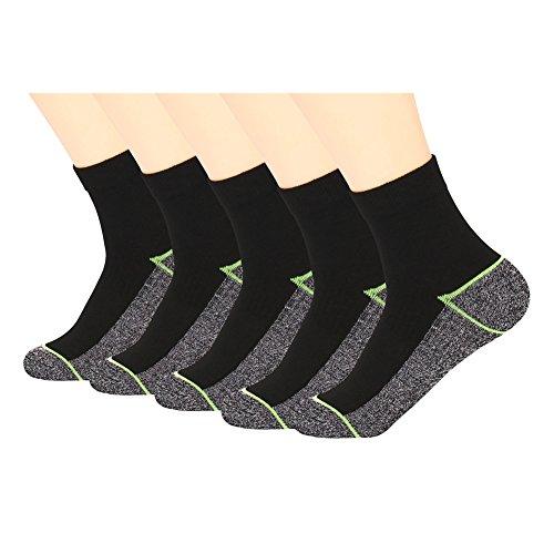 Kupfer Antibakterielle Athletische Socken f¨¹r M?nner und Frauen-Feuchtigkeits-Docht, rutschfeste Kissen Kn?chelsocken, Schwarz/Gr¨¹n-5 Pairs, Shoe M:34-44 EUR